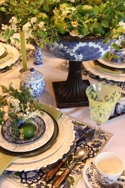 Green Limes and Blue Transferware Tablescape