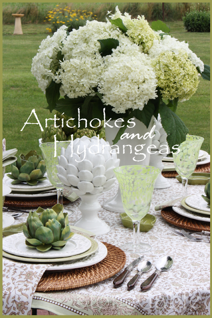 Artichokes And White Hydrangeas