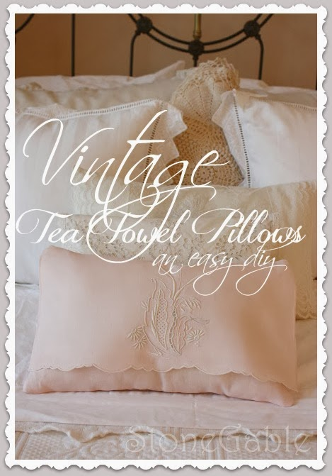 Vintage Tea Towel Pillow Tutorial