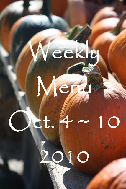 Weekly Menu October 4~ 10, 2010 And Giveaway Winner