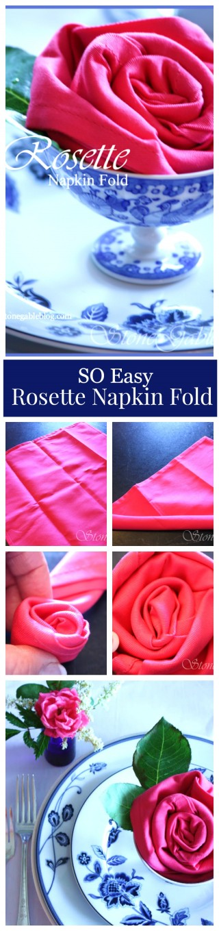 SO EASY ROSETTE NAPKIN FOLD- beautiful and insanely easy to do-stonegableblog.com