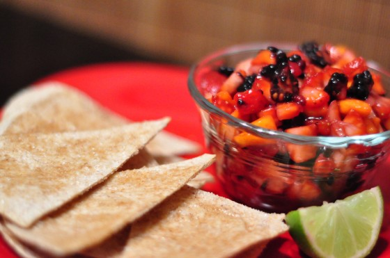 cinnamon sugar chips with sweet fruit salsa (kiwi, strawberries, apples, raspberries or blueberries)