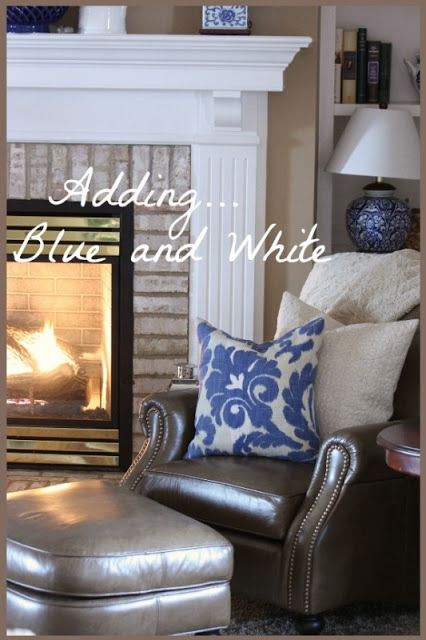 ADDING BLUE AND WHITE TO WINTER DECOR