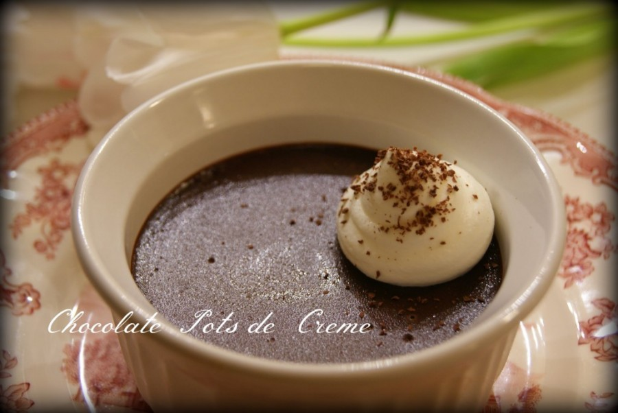 Chocolate Pots de Creme with White Chocolate Whipped Cream from Black Fox Homestead