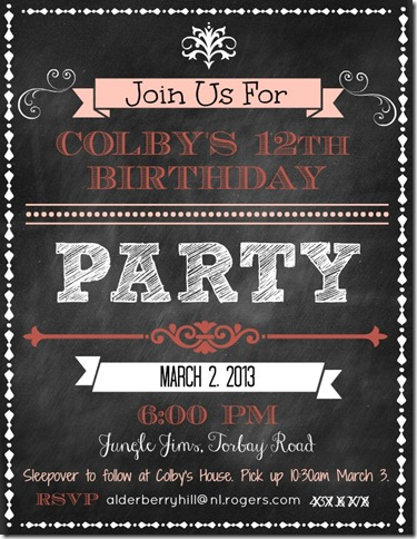 Colbys Invitation 2013 thumb How to create a chalkboard invitation in Pic Monkey