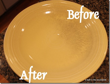 plate half cleaned with Bar Keepers friend