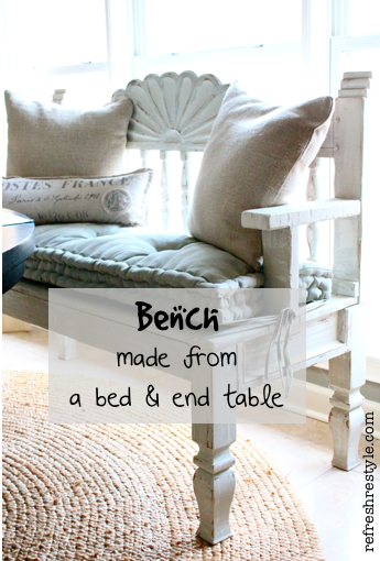 Bench made from a headboard and end table