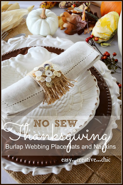 NO SEW THANKSGIVING SHOWCASE BURLAP WEBBING PLACEMAT AND NAPKIN AND $100.00 GIVEAWAY