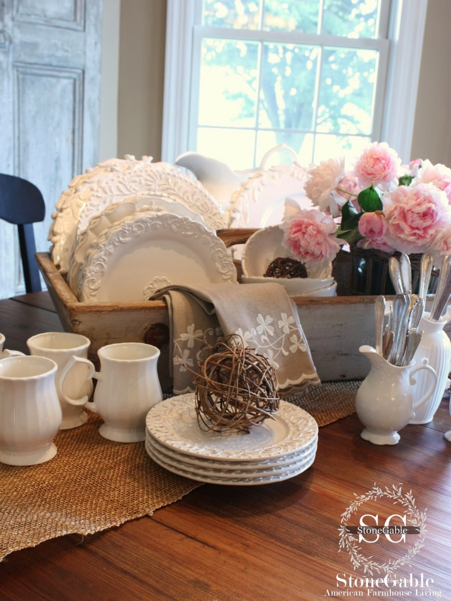 White Dishes Centerpiece