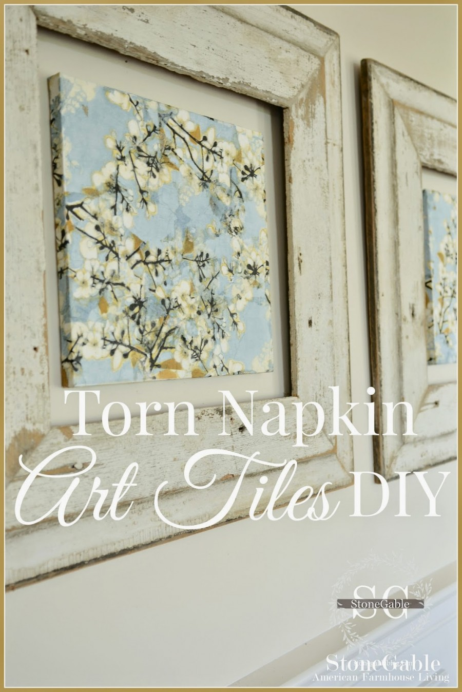 TORN NAPKIN ART TILES DIY