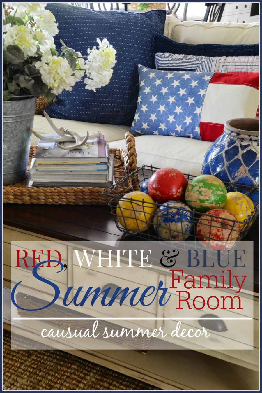 RED, WHITE AND BLUE SUMMER FAMILY ROOM