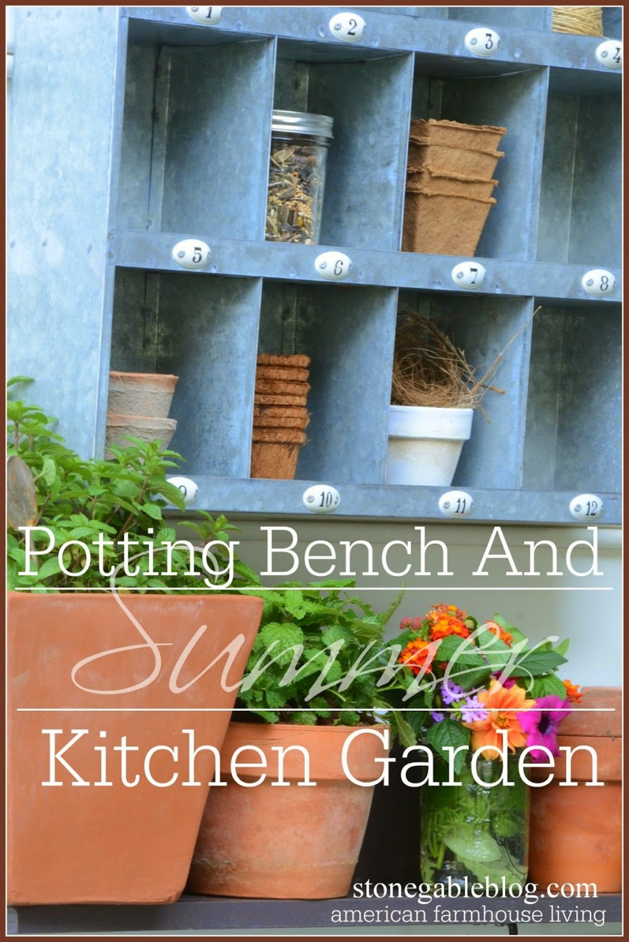 SUMMER POTTING BENCH AND KITCHEN GARDEN