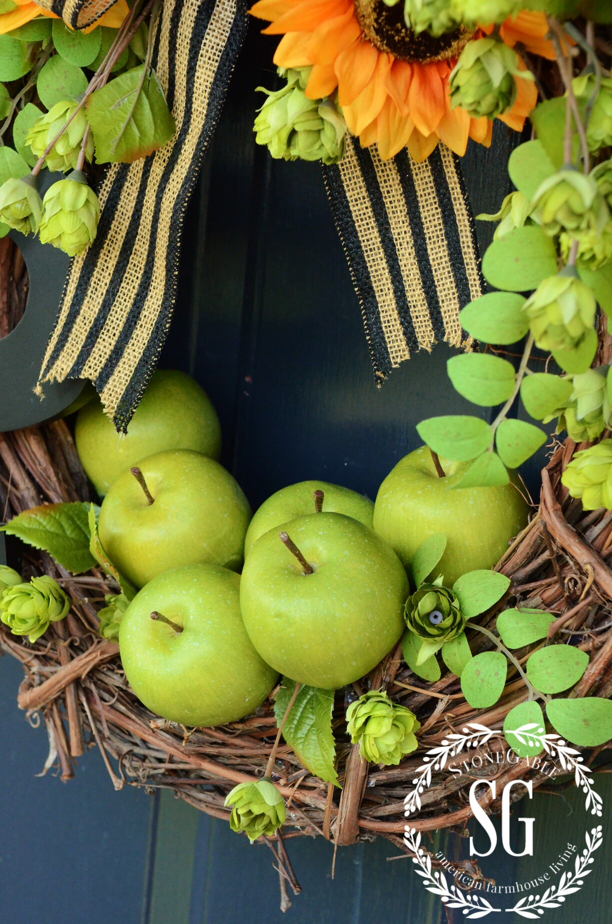 Early Fall Green Apple Initial Wreath Diy Stonegable