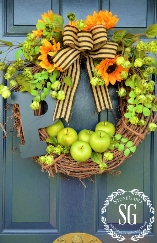 Early-fall-wreath-on front door-stonegableblog.com