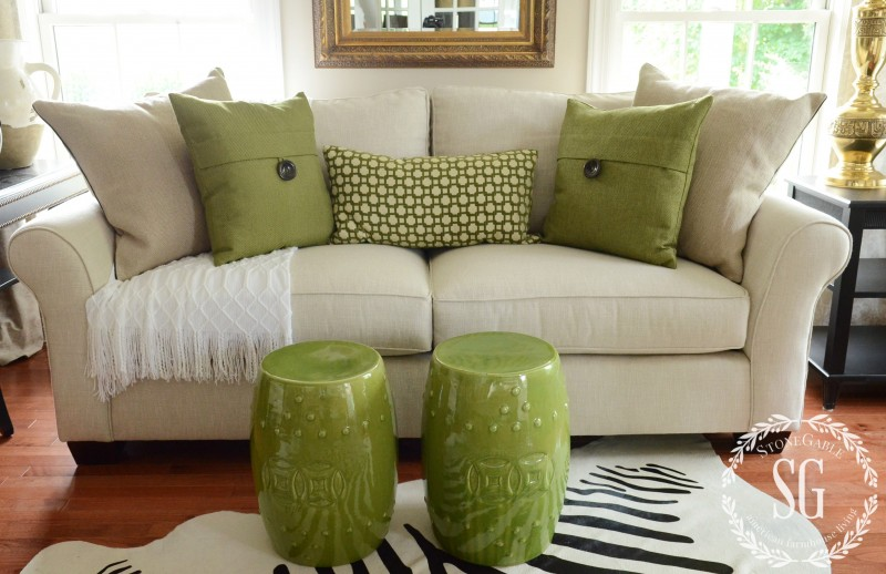 How Many Throw Pillows On A Sectional Couch : sofa pillows- green pillows with white throw-stonegableblog.com