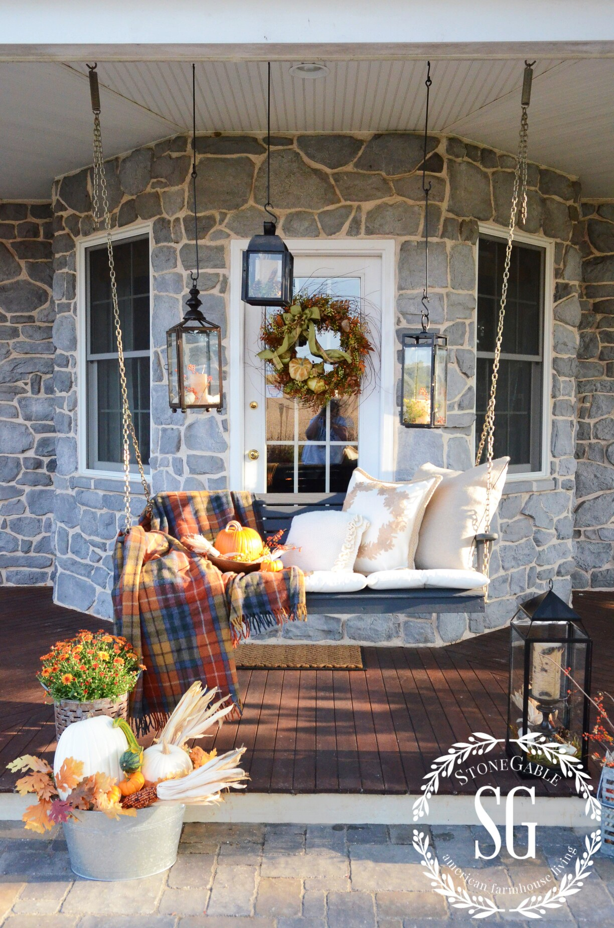 Fall on the back porch and porch link party stonegable How to decorate your front porch for fall