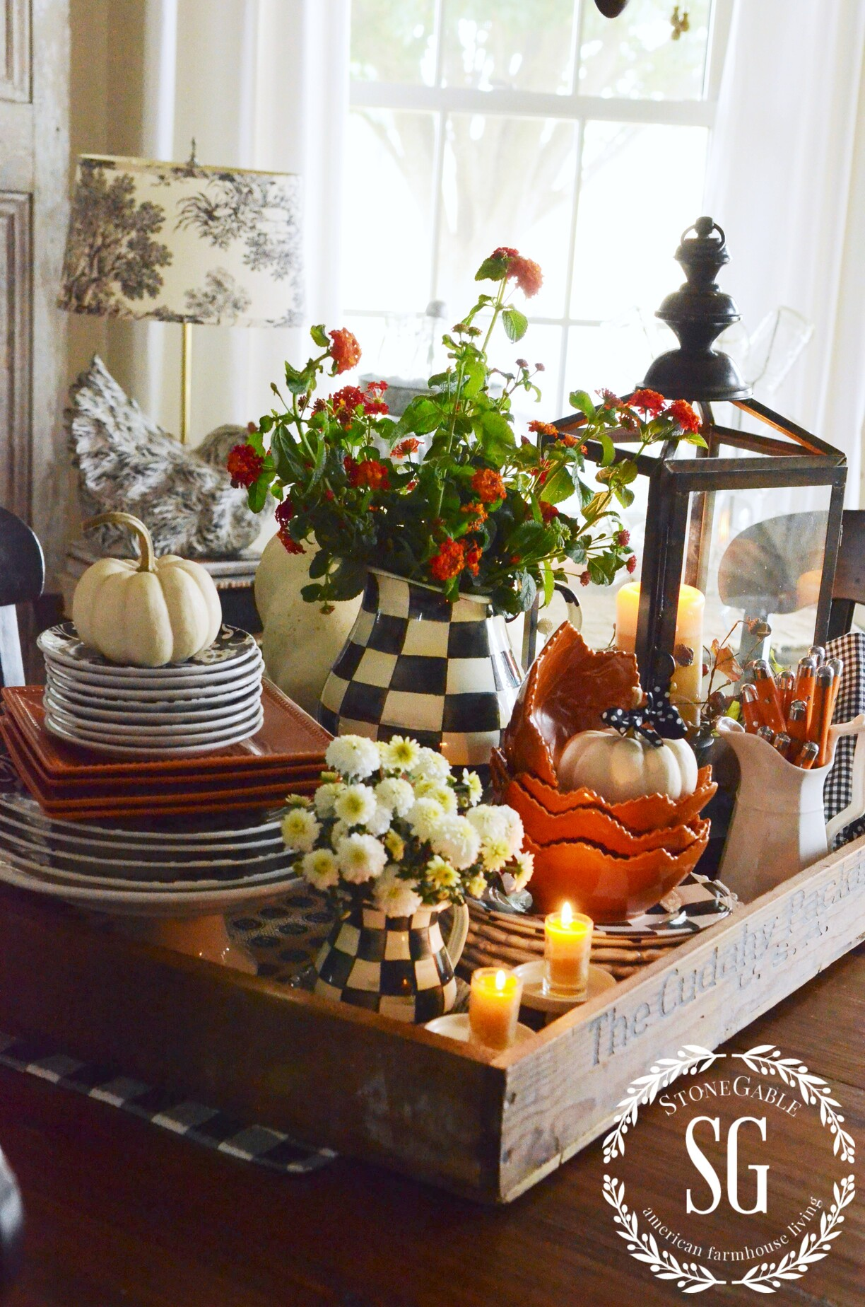 Fall kitchen table centerpiece stonegable for Small kitchen table centerpiece ideas