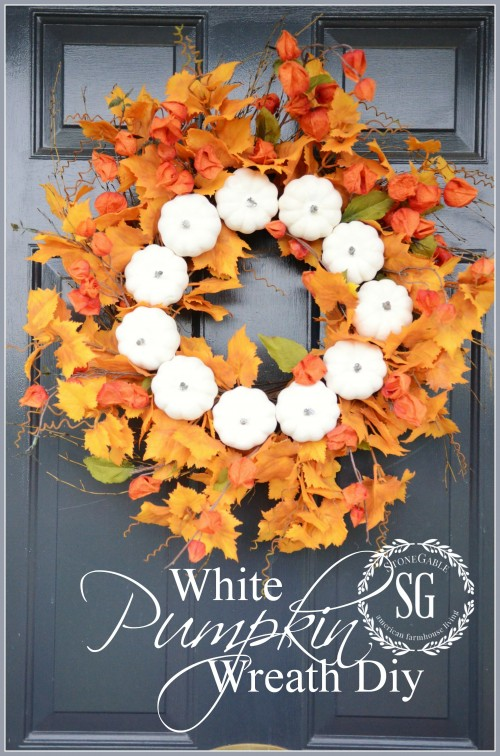 White Pumpkin Fall Wreath-front door-stonegableblog.com