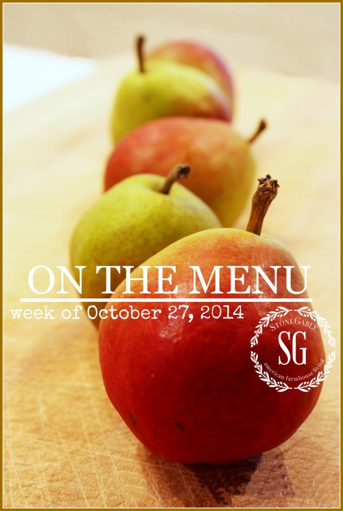 ON THE MENU WEEK OF OCTOBER 27, 2014