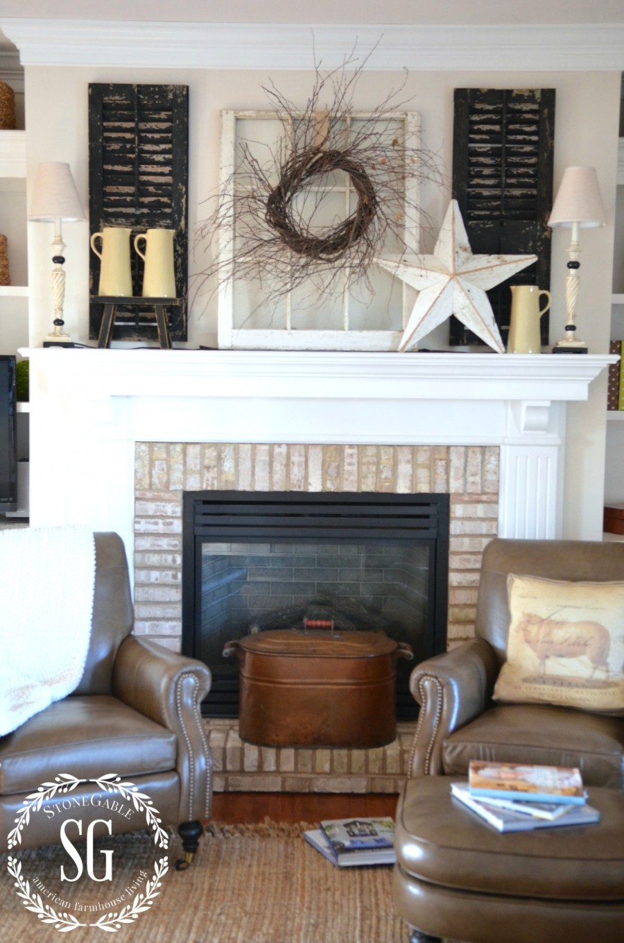 simple farmhouse style winter mantel full shot