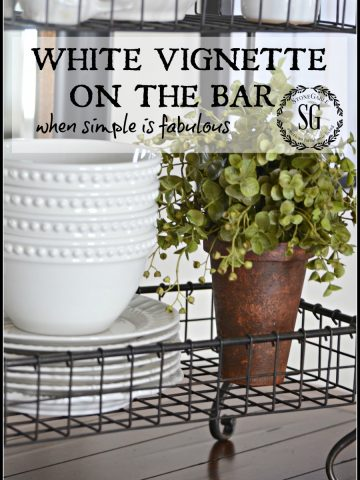 WHITE VIGNETTE ON THE BAR-when simple is fabulous-stonegableblog.com