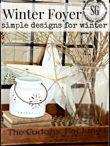 WINTER FOYER-simple and striped down design for winter-stonegableblog.com