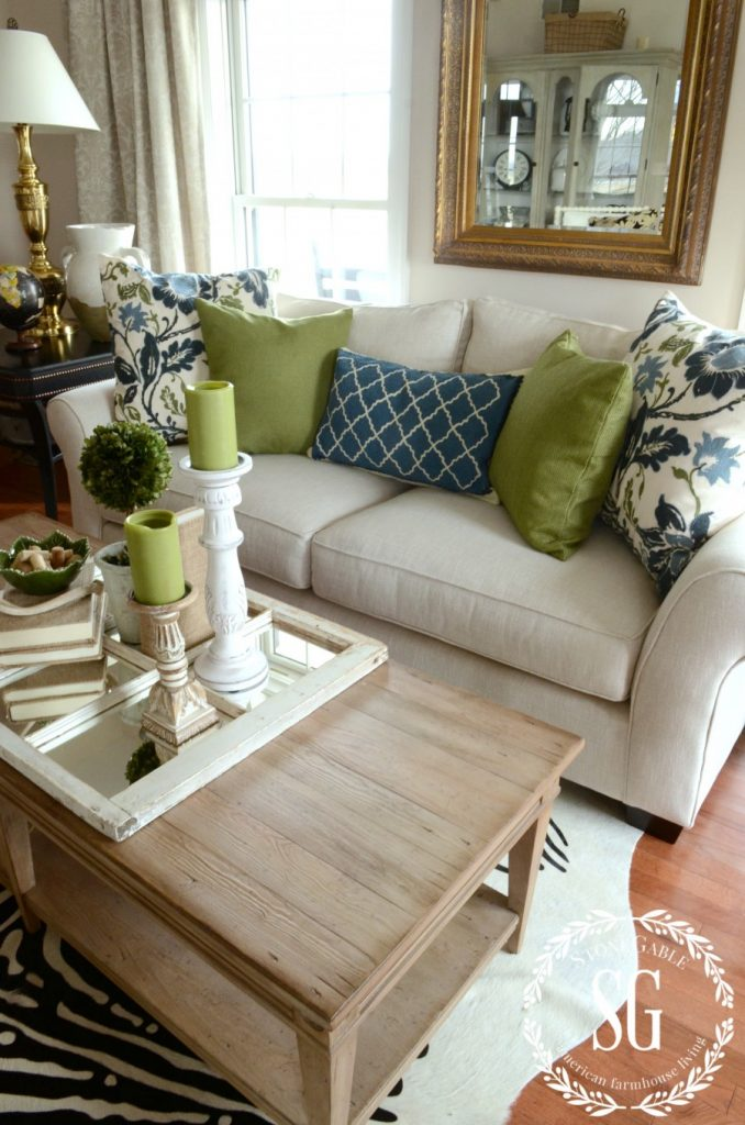 How to build a pillow collection like a pro stonegable for Green and blue living room decor