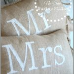 MR AND MRS NO-SEW BURLAP PILLOWS-easy to make and looks fabulous-stonegableblog.com