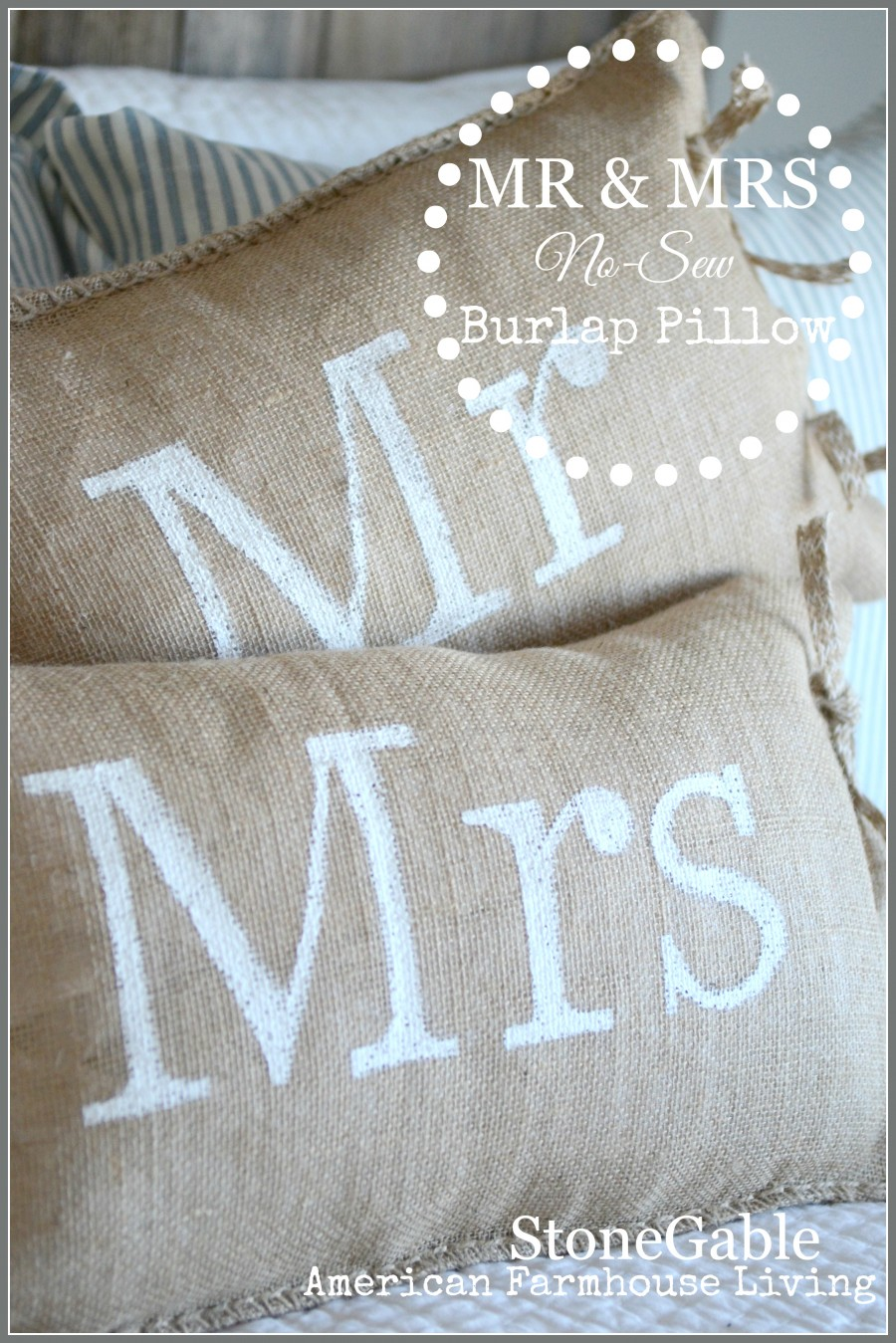 No Sew Mr And Mrs Burlap Pillows Stonegable