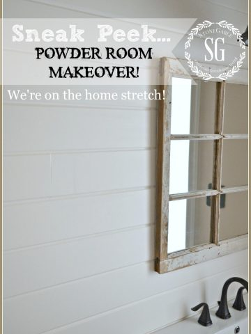 POWDER ROOM MAKEOVER SNEAK PEEK-bringing back it's farmhouse style-stonegableblog.com