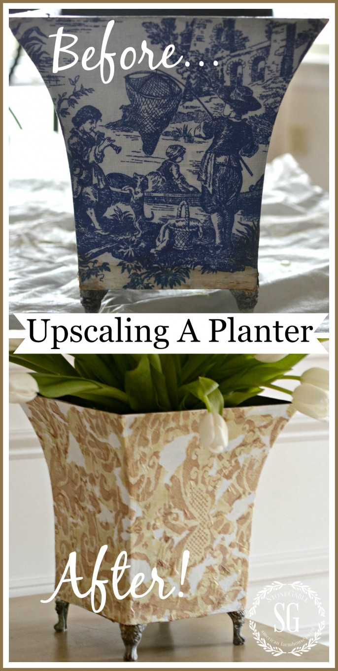 UPCYCLING AN OLD PLANTER… BUDGET DECORATING!