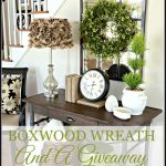 BOXWOOD WREATH IN THE FOYER-and a giveaway-stonegableblog.com