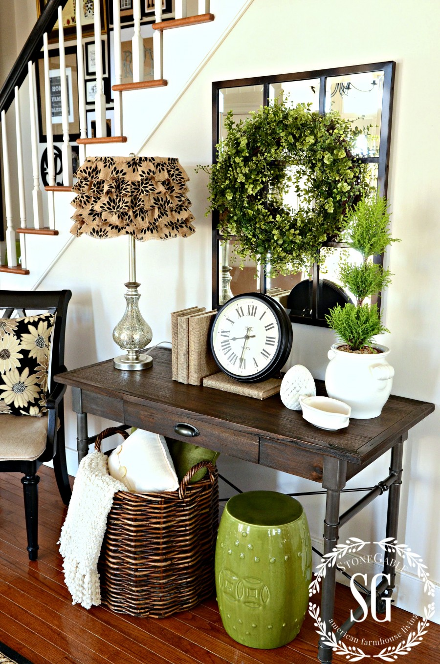 Boxwood wreath in the foyer and a giveaway for Foyer decoration