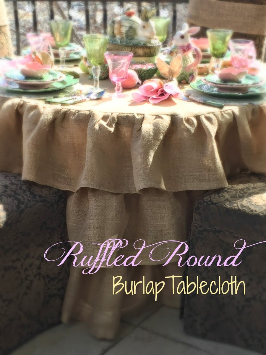 Ruffled Round Burlap Tablecloth Tutorial