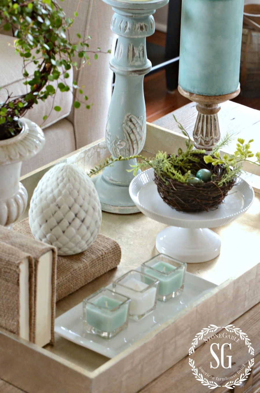 SPRING COFFEE TABLE VIGNETTE - StoneGable