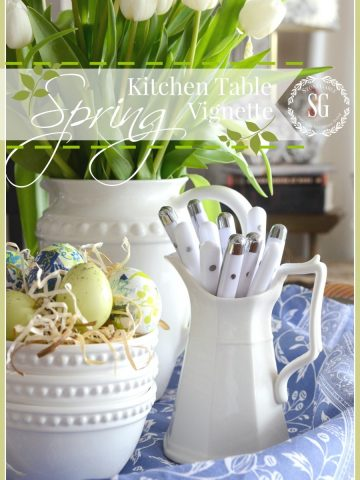 SPRING KITCHEN TABLE VIGNETTE-an easy way to decorate for the season-stonegableblog.com