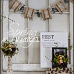 SPRING MANTEL-A mantel of chippy blooming ideas and nests-stonegableblog.com