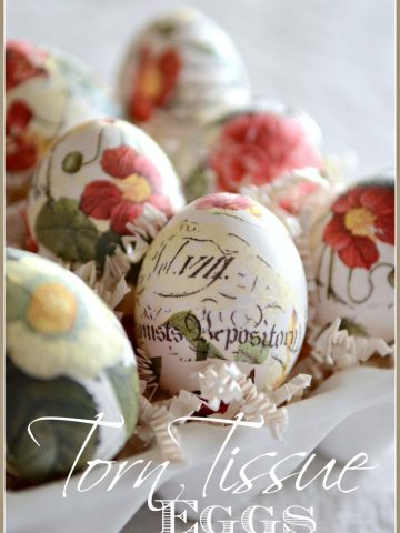 TORN TISSUE EGGS-Beautiful, artistic, easy-to-make-stonegableblog.com