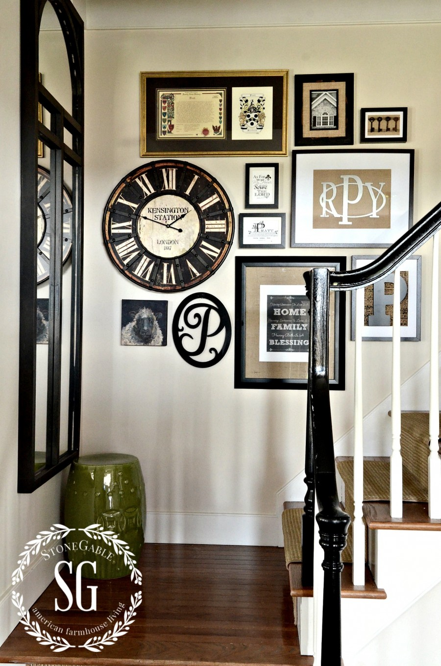 adding a clock to a wall gallery and a giveaway stonegable. Black Bedroom Furniture Sets. Home Design Ideas