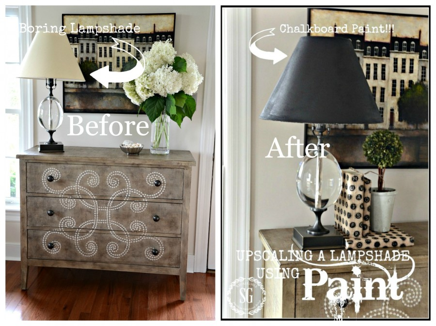 5 INEXPENSIVE WAYS TO REFRESH YOUR LIVING ROOM- Paint a lampshade-stonegableblog.com