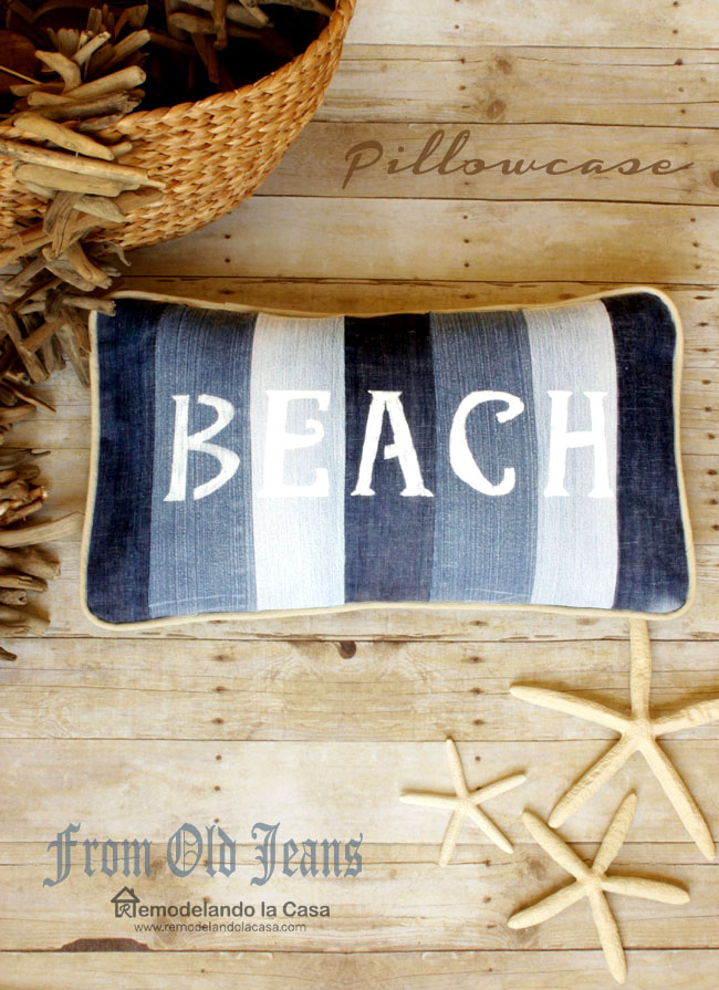 Beach Pillow from old jeans 1