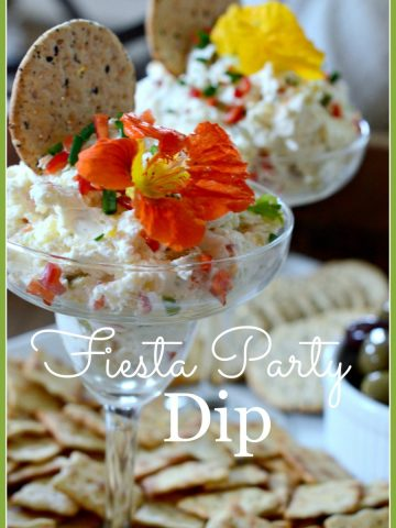 FIESTA PARTY DIP- delicious, cheesy spread-stonegableblog.com