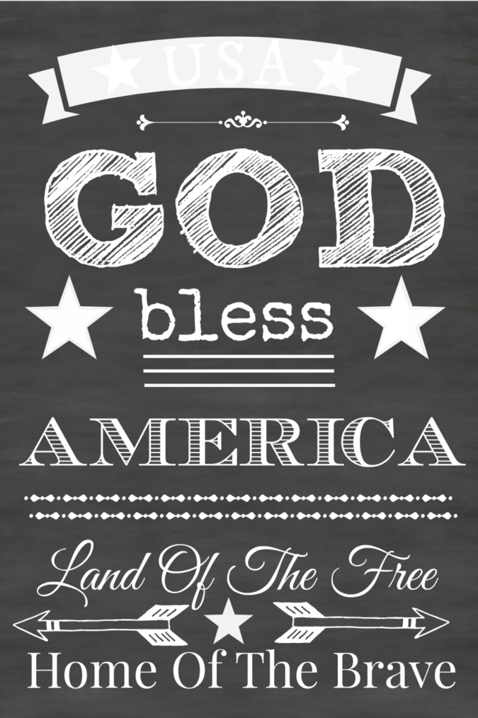 GOD BLESS AMERICA CHALKBOARD PRINTABLE