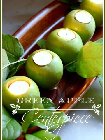 GREEN APPLE CENTERPIECE- a 10 minute apple centerpiece-stonegableblog.com
