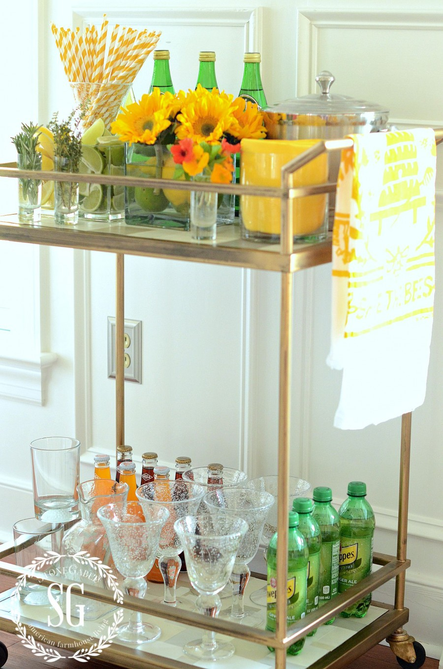 Fun Fabulous Non Alcoholic Bar Cart And Herb Citrus Mocktail Recipes Stonegable