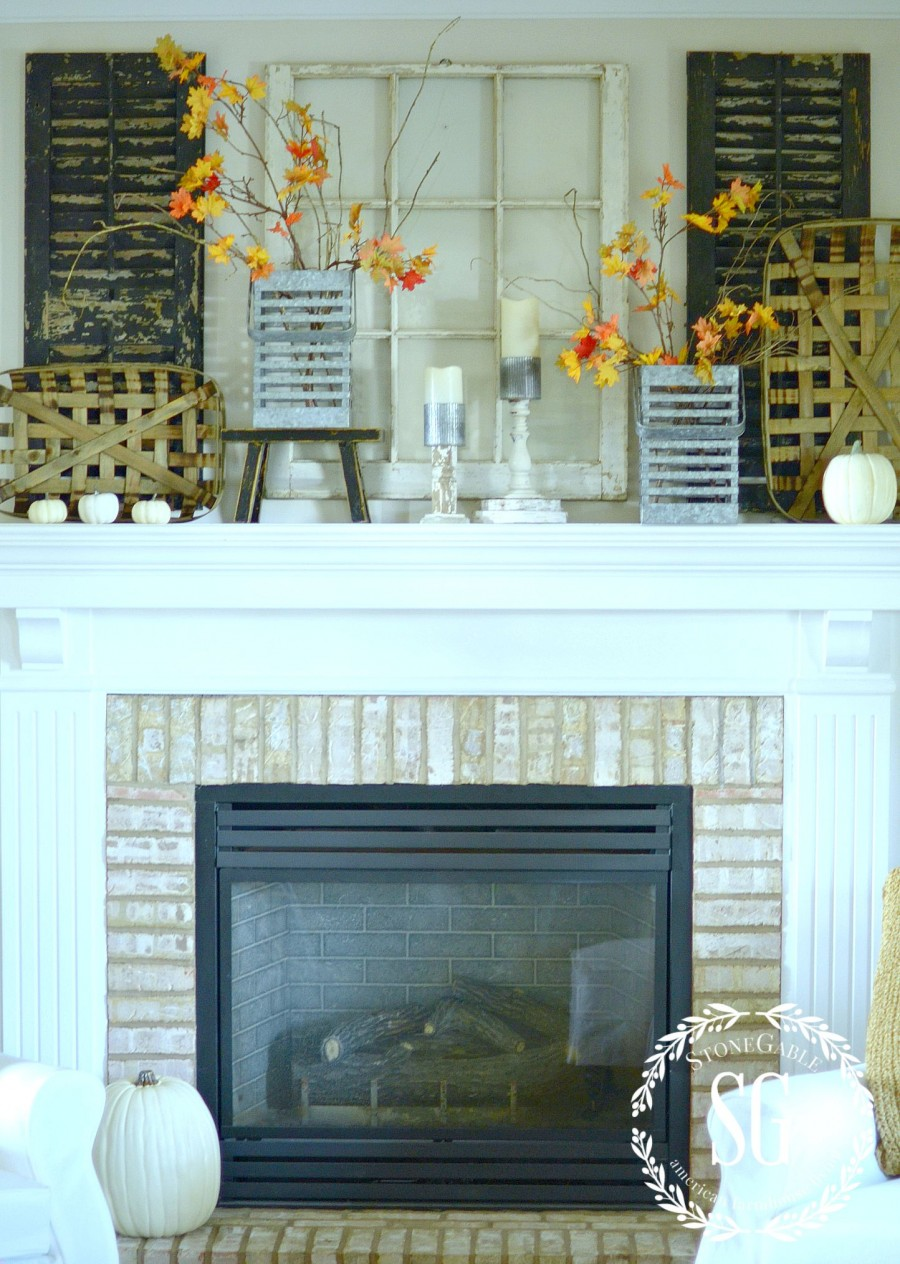 Fall Mantel Farmhouse Style Stonegable