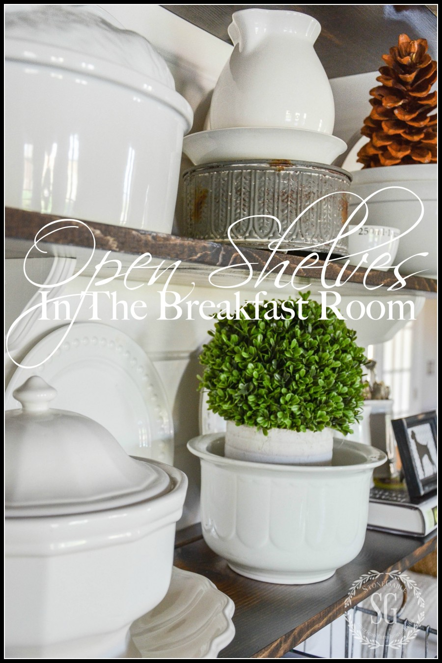 OPEN SHELVES IN THE BREAKFAST ROOM