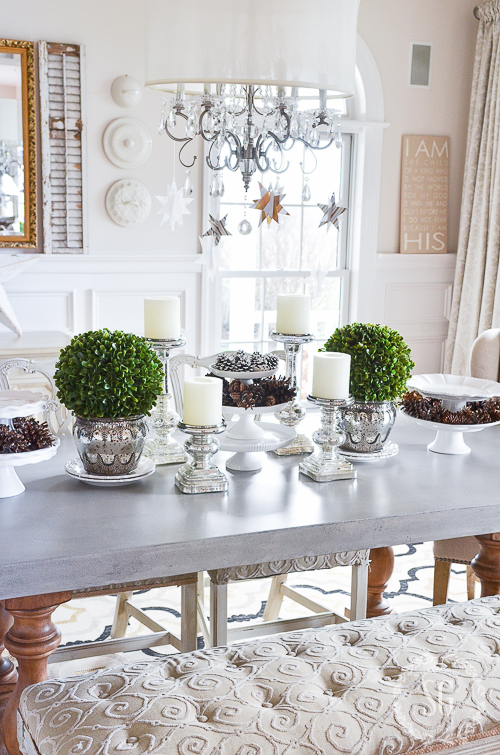 WINTER WHITE DINING ROOM CENTERPIECE StoneGable