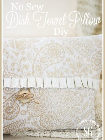 NO SEW DISH TOWEL PILLOW DIY