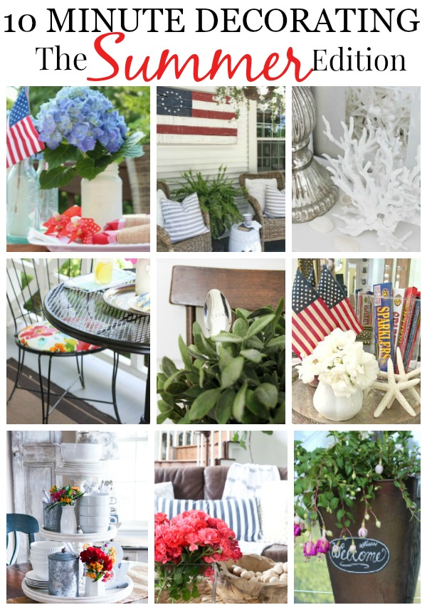 I LOVE all of these pretty 10 Minute decor ideas for summer! See how to make these fast and fabulous 10 minute decorating tips to give your home a fresh look in record time!